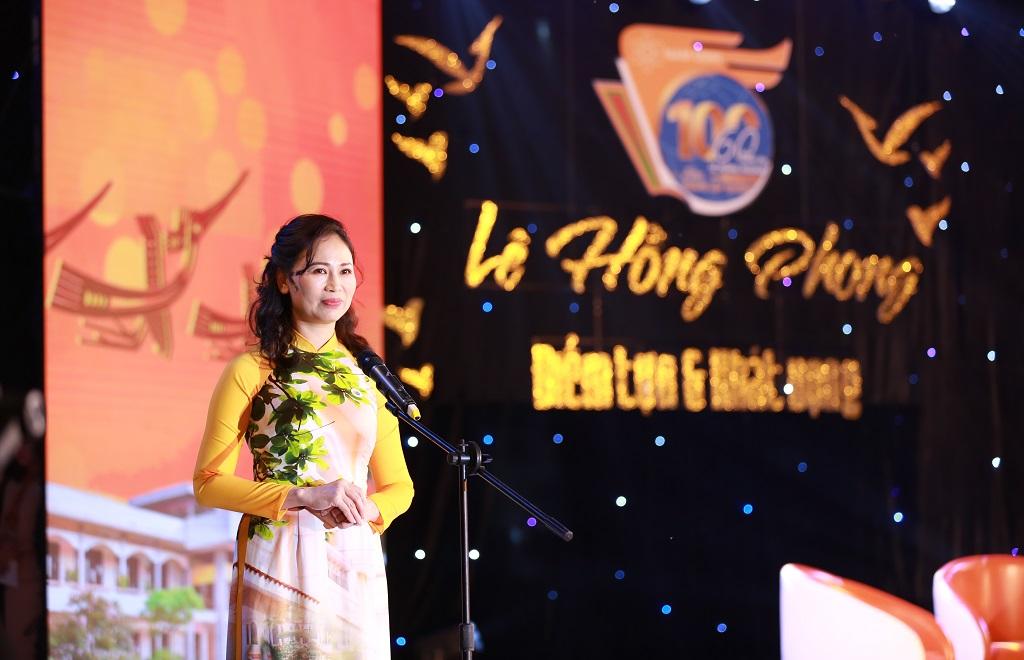"""Lời phát biểu khai mạc Tọa đàm """"Lê Hồng Phong, Điểm tựa và Khát vọng"""" của Tiến sĩ Phạm Thị Huệ, Bí thư Đảng ủy, Hiệu trưởng nhà trường"""