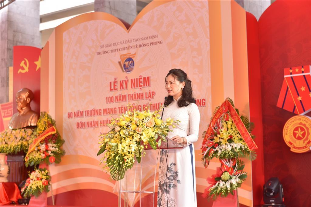 Diễn văn Lễ kỉ niệm 100 năm thành lập, 60 năm trường mang tên Tổng Bí thư Lê Hồng Phong