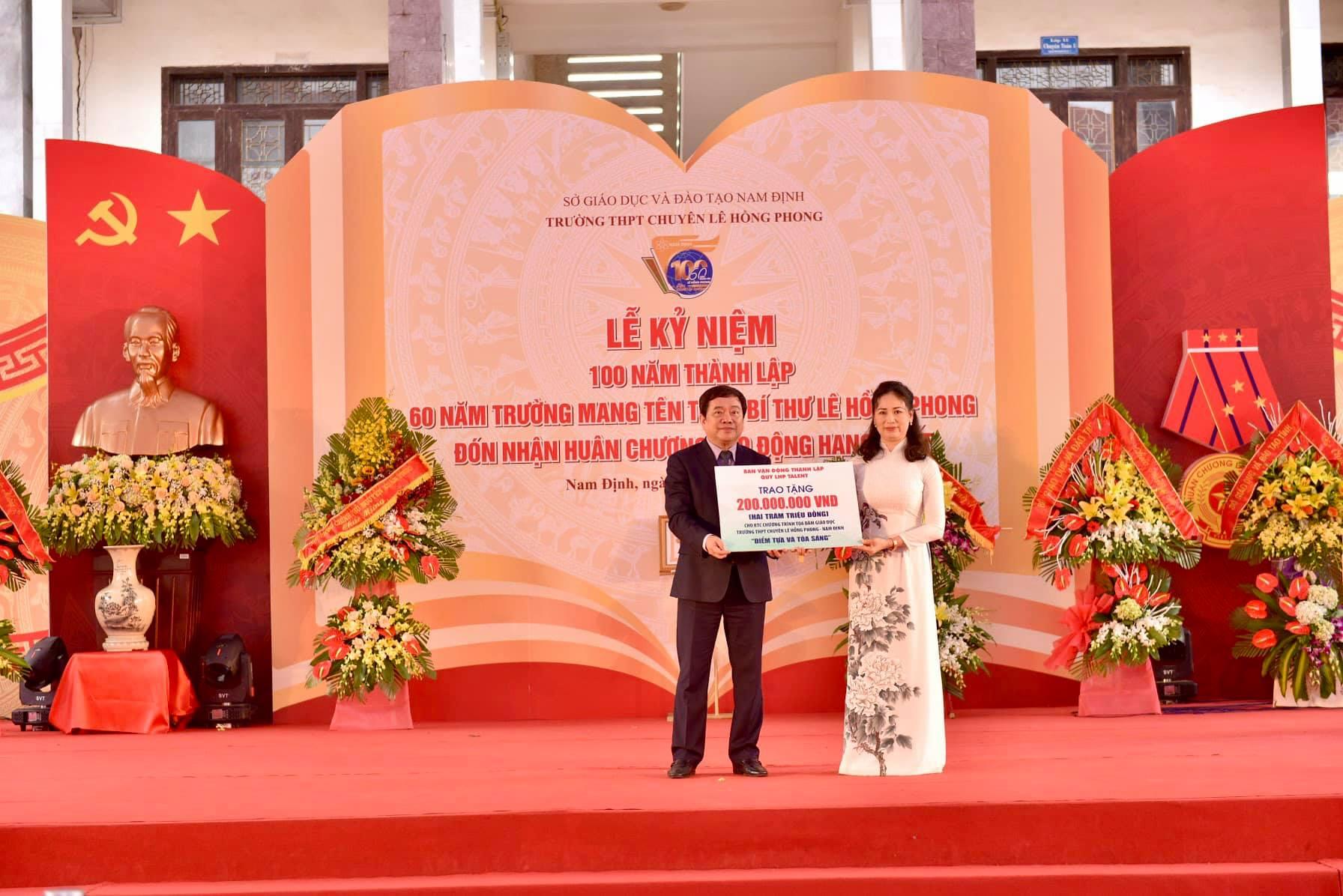 Bài phát biểu của cựu học sinh Lê Hồng Phong, đại diện Ban vận động quỹ Hỗ trợ phát triển tài năng Thành Nam