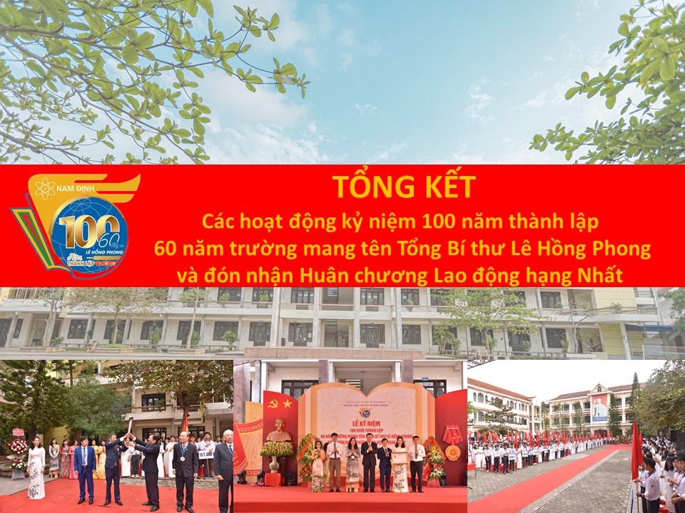 Báo cáo tổng kết các hoạt động kỷ niệm 100 năm thành lập, 60 năm trường mang tên Tổng Bí thư Lê Hồng Phong và đón nhận Huân chương Lao động hạng Nhất