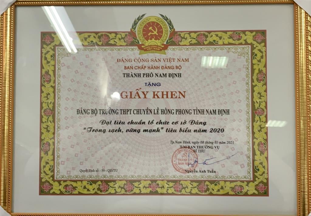 """Đảng bộ trường THPT chuyên Lê Hồng Phong đạt tiêu chuẩn  """"trong sạch, vững mạnh,"""" tiêu biểu năm 2020"""