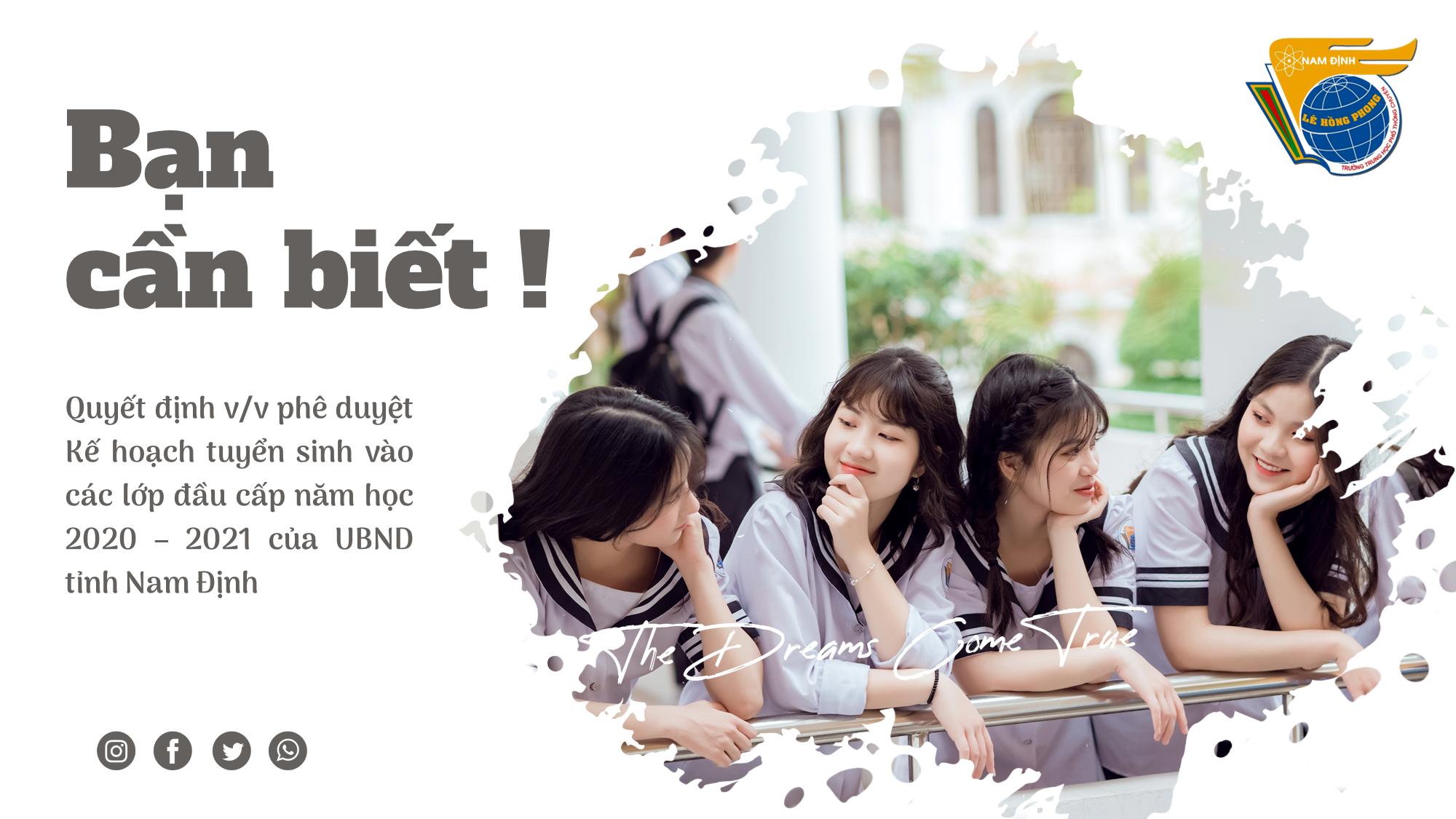 Quyết định về việc phê duyệt Kế hoạch tuyển sinh vào các lớp đầu cấp năm học 2021 - 2022 của UBND tỉnh Nam Định