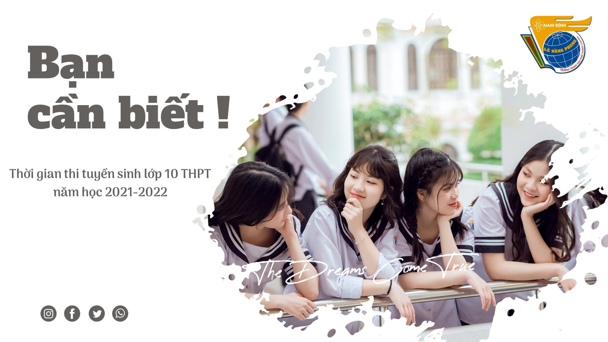 Thông báo thời gian thi tuyển sinh lớp 10 THPT năm học 2021-2022