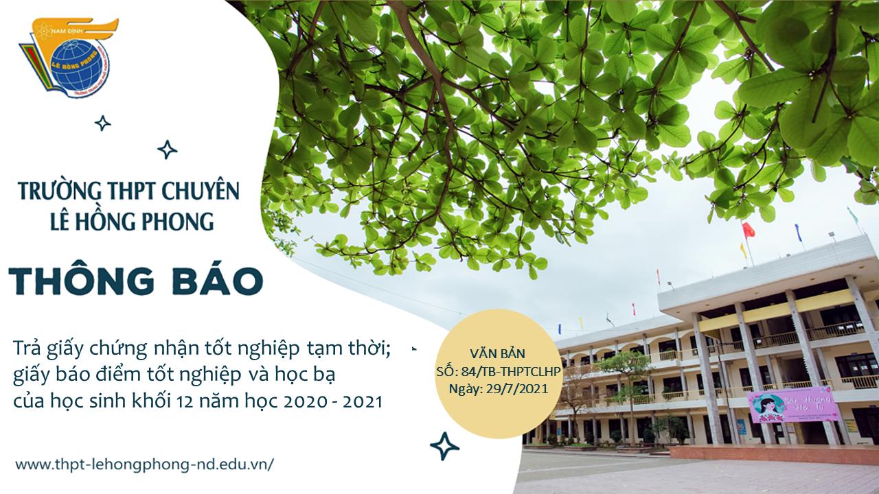 Thông báo về việc trả giấy chứng nhận tốt nghiệp tạm thời; giấy báo điểm tốt nghiệp và học bạ của học sinh khối 12 năm học 2020 - 2021